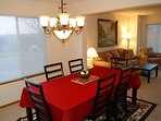 Large formal dining area next to kitchen