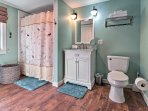 Morning routines will be a breeze in this full bathroom with a shower/tub combo.