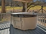Indulge in a relaxing evening with the private hot tub.