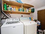 Laundry area with high-capacity washer and dryer.