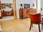Living room / Kitchen, flat screen TV (cable TV, free wifi), original dresser Biedermeier.
