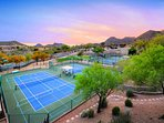 views of the tennis courts from the building.