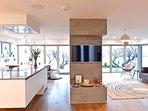 Ground floor living space with patio doors opening to garden