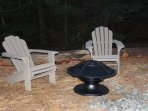 Outdoor firepit area close by