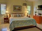 Ocean room, first floor guest bedroom, king bed, shared jack and jill bath