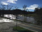 Pigeon River is in front of the entrance to the property