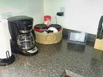 Coffee maker, coffee supplies, security touch pad, and kitchen knife block