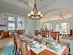 Family meals are a joy around this lavish 8-person dining table.