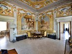 all the rooms of this floor are decorated with Tiepolo's frescoes.
