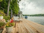 Beautiful dock with seating to soak up the fresh Muskoka air