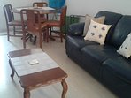 furnished with 2 sofa's, armchair, dining table and chairs