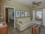 Living are on the 3 level with full sized sleeper sofa.