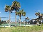 Public tennis courts.