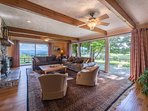 Spacious living room, lots of glass to see the beautiful blue ridge mountains.