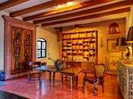 Living Room with antique chapel doors