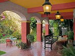 Covered Patio and backyard