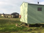 Blueberry farm stay 1, 5shepherd huts for groups & families for up to 17 people