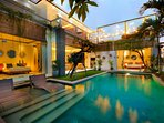 every bedrooms facing the pool and rice fields