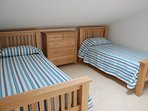 Two full size 3 ft (90 x 190cm) single beds with Oak furniture