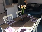 Modern Dining Table and chairs.  Seats 6.