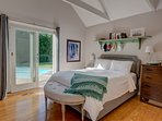 Spacious guest bedroom with southern exposure