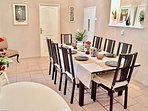 Dinning table in dining room. Seating up to 10.