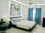 MASTER BEDROOM WITH A/C, FAN, PRIVATE BATHROOM & WALK IN CLOSET, SHUTTERS