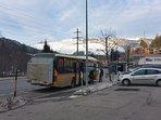 Ski shuttle bus: next to Rancho-Laax; free ride to the gondola with a ski-pass, less than 2 minutes.