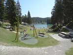 Cauma-Lake play ground. Great swimming! (free with a visitor's card; at Laax information center).