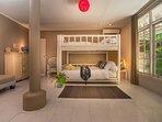 Bedroom n.3 Adults setting, bamboo bunk bed 140x200cm, sofa, desk, attached bathroom, bathtub, wc