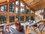 Beautiful log home with great views of surrounding forest
