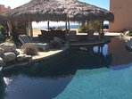 Palapa is adjacent to the solar heated pool