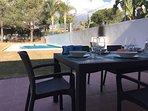 Terrace Table, overlooking garden & pool