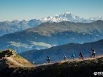 Mountain bike route from the top ridge of Meirbel to Les Allues & view mnt Blanc, Alps heighest peak