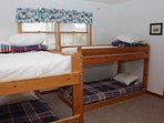 Two sets of bunks on first level, sleeps 4