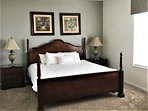 Relax in the elegant master bedroom with king mattress, new bedding & 42' HDTV