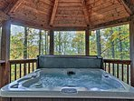 Enjoy the spectacular views from the private hot tub.