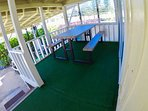 Deck with golf course views, picnic table. Best place for morning coffee and all meals.