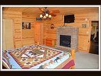 1 of 5 bedrooms - master bedroom - king bed - attached master bathroom - gas fireplace - main level