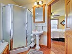 This bathroom is a great place to gussy up for a night on the strip.