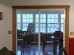 sliding doors leading to sunroom