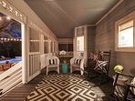 Savannah-style screened in porch to sip your morning coffee