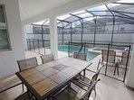 Private Pool & Spa w/Patio Seating, Sun Loungers, Safety Fence & Privacy Screening