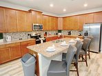 Spacious and Modern Kitchen w/Breakfast Bar Seating for Four (4)