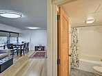 The apartment has an open-concept layout that is perfect for a couple.