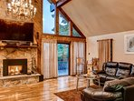 The spacious living area boasts cathedral ceilings.