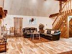 Hardwood floors give the cabin a rustic feel.
