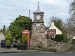 Aberdour clock tower and traditional British phone box.
