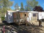 mobile home 2 chambres avec terrasse couverte.
