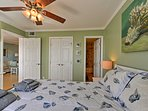 This queen bed will usher you to sleep.
